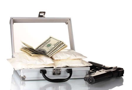 Cocaine with money and gun in a suitcase isolated on white photo