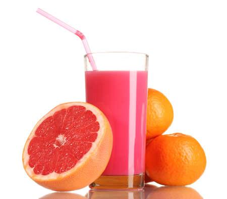 Grapefruit juice and fresh grapefruit isolated on white photo