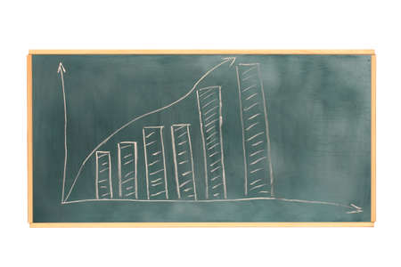 Growth chart is drawn on the blackboard isolated on white photo