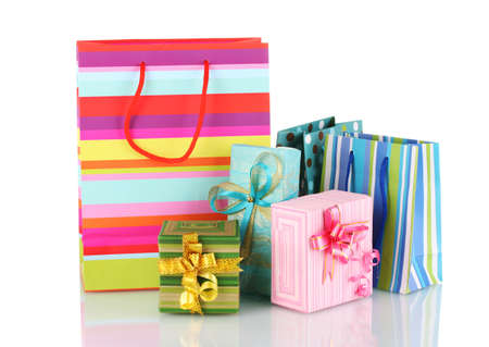 bright gift bags and gifts isolated on white Stock Photo - 11953967