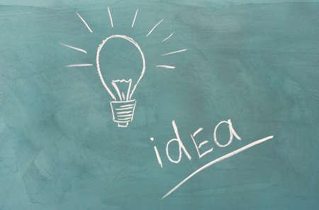 Blackboard with drawing light bulb closeup photo