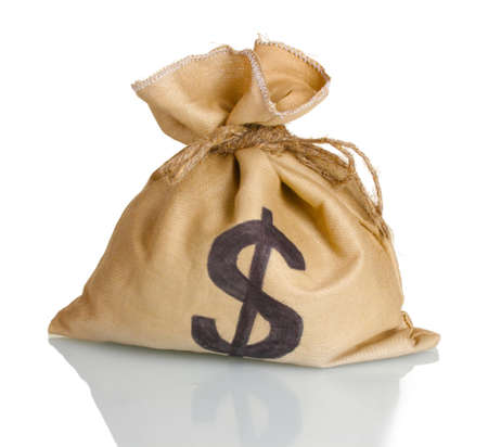 A bag with a dollar sign isolated on white photo