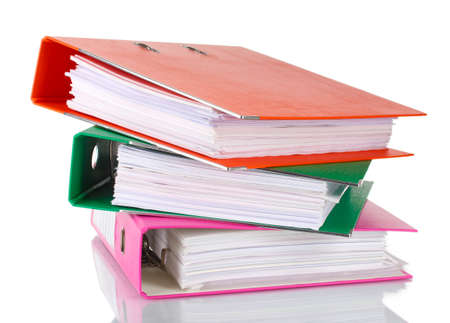 Office folders isolated on white  photo