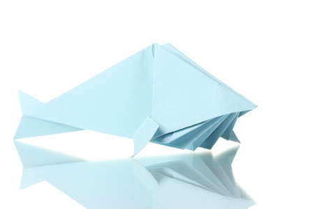 toy fish: Origami fish out of the blue paper isolated on white