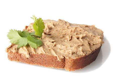 Frische pate auf Brot isoliert auf weiß Standard-Bild
