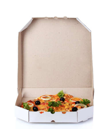 tasty pizza in package isolated on white photo