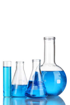 chemical laboratory: Test-tubes with blue liquid isolated on white Stock Photo