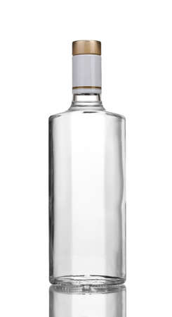 gin: Bottle of vodka isolated on white