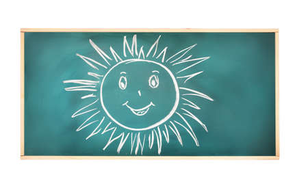 Blackboard with drawing smiling sun isolated on white photo