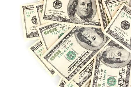 hundred dollar bill: A lot of one hundred dollar bills isolated on white