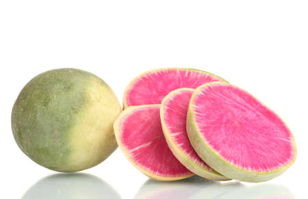 sliced radish isolated on white photo