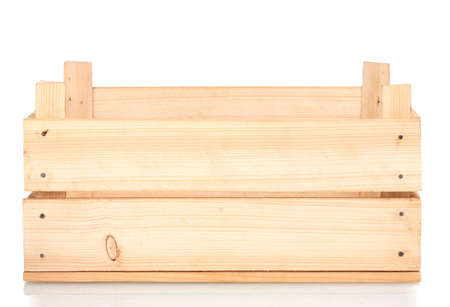 wooden crate: empty wooden crate isolated on white