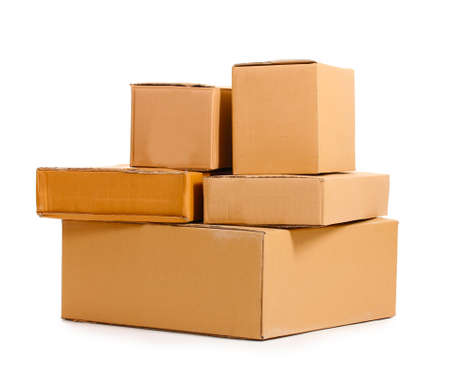 stockpiling: Brown cardboard boxes isolated on white