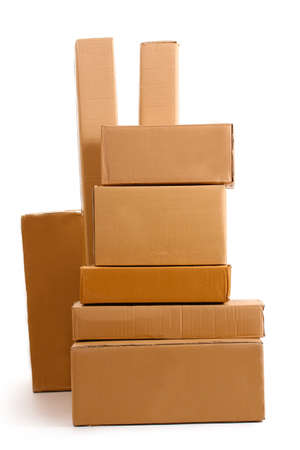 Brown cardboard boxes isolated on white Stock Photo - 12102015