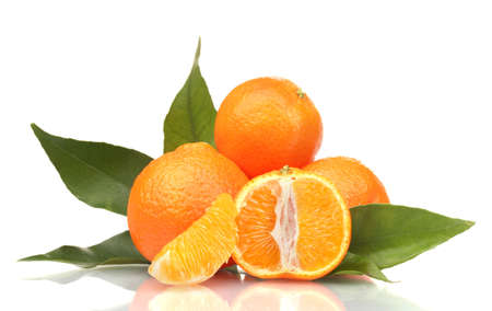 Ripe tasty tangerines with leaves and segments isolated on white Stock Photo - 12108894