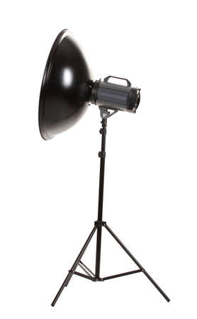 Studio flash with beauty dish isolated on white photo