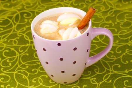 Cup of cappucino with marshmallows and cinnamon on green tablecloth Stock Photo - 12118180