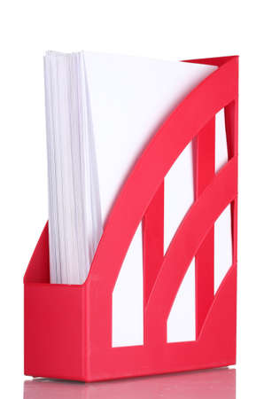 red tray for papers isolated on white Stock Photo - 12118149