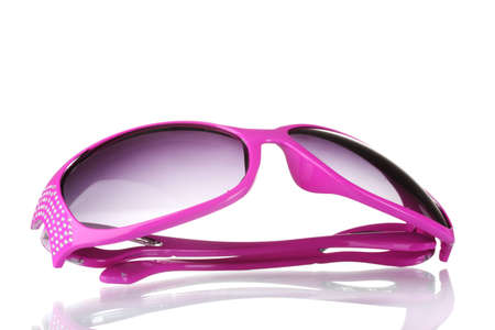 Womens pink sunglasses with diamonds isolated on white Stock Photo