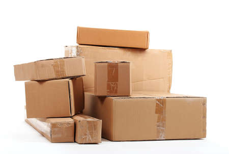 send parcel: Brown cardboard boxes isolated on white