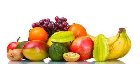 exotic fruits: Assortment of exotic fruits isolated on white Stock Photo
