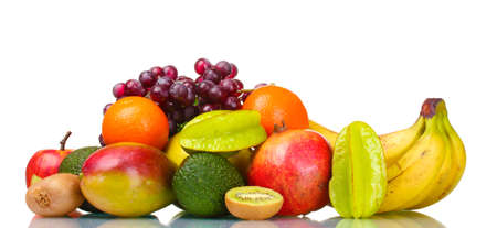 frutas tropicales: Surtido de frutas exóticas aislados en blanco