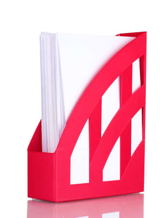secretary tray: red tray for papers isolated on white