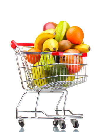 exotic fruits: Assortment of exotic fruits  in shopping cart isolated on white