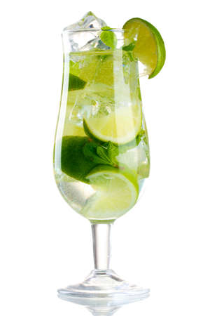 glass of cocktail with lime and mint isolated on white Stock Photo - 12144411