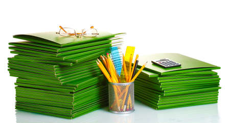 Green folders isolated on white photo
