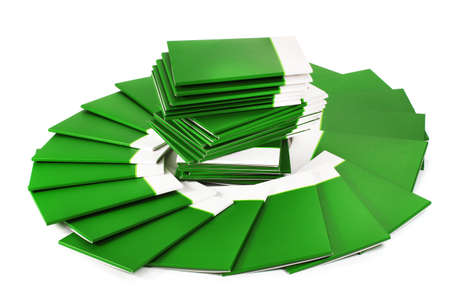 Many green folders isolated on white Stock Photo - 12237136