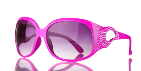 Womens pink sunglasses with diamonds isolated on white photo