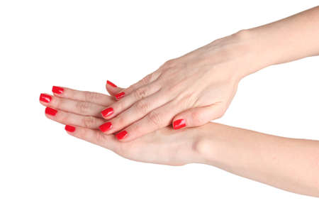 Female hands with manicure isolated on white photo