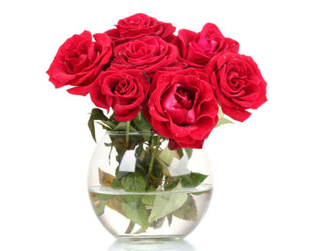 Beautiful Red Roses In A Vase Isolated On White Stock Photo Picture