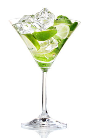glass of cocktail with lime and mint isolated on white Stock Photo - 12239321