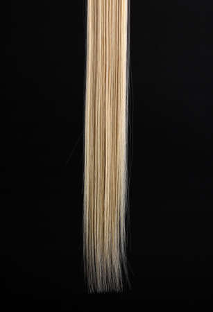 blonde streaks: Shiny blond hair isolated on black Stock Photo