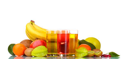 Assortment of exotic fruits and juice isolated on white photo