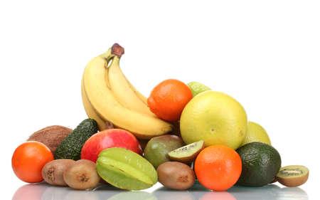 Assortment of exotic fruits isolated on white Stock Photo - 12240665