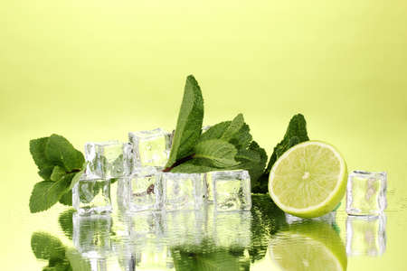 lime green: Fresh mint leaf and ice cubes with droplets and lime on green background
