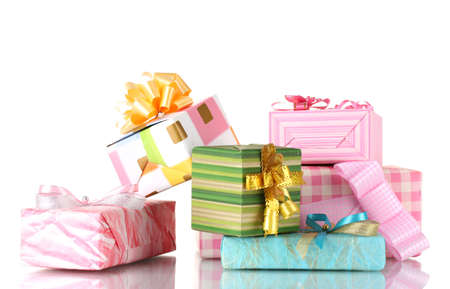 Beautiful bright gifts isolated on white Stock Photo - 12265505