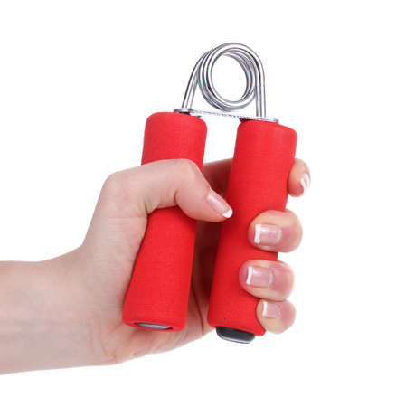 resistive: Red hand trainer in hand isolated on white Stock Photo