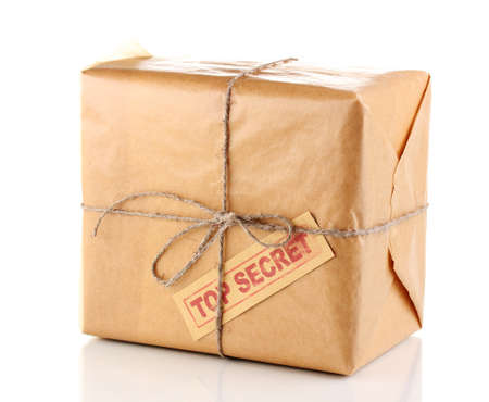 Parcel with top secret stamp isolated on white photo