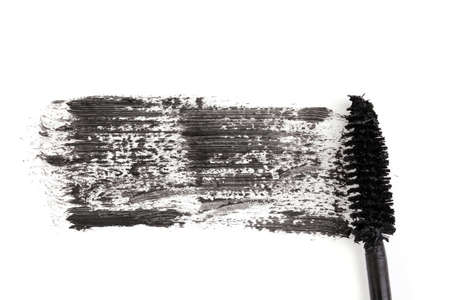 Black mascara brush stroke close-up isolated on white Stock Photo - 12312915