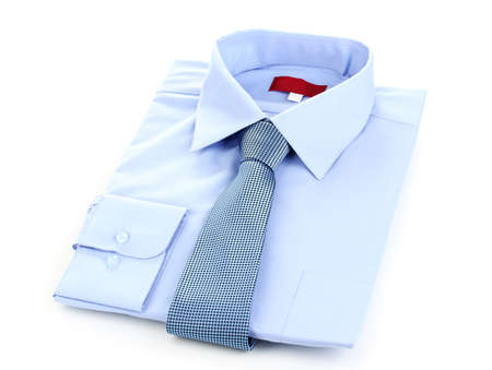 mans shirt: New blue mans shirt and tie isolated on white Stock Photo
