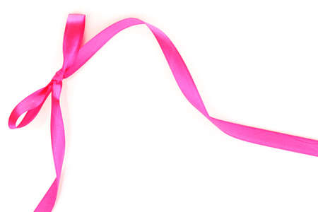 pink ribbons: Pink satin bow and ribbon isolated on white