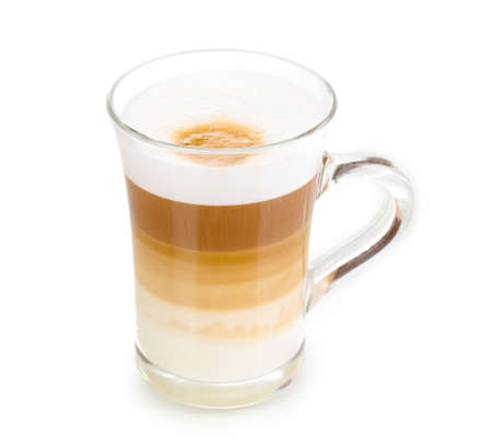 latte: Fragrant сappuccino latte in glass cup isolated on white Stock Photo