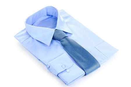 drycleaning: New blue mans shirt and tie isolated on white Stock Photo