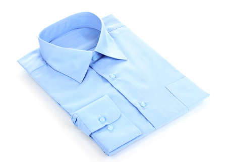 New blue man's shirt isolated on white Stock Photo - 12312373