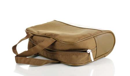 Womans khaki bag isolated on white photo