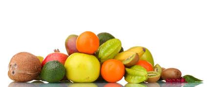 Assortment of exotic fruits isolated on white Stock Photo - 12329896